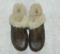 Ugg Clog Brown Leather Sheepskin Lined Mules Women's Shoes Size 6