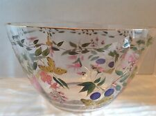 """VINTAGE HAND PAINTED CRYSTAL CLEAR Industries 11"""" Bowl GOLD TRIM Amelia Pattern"""