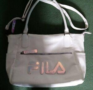 Fila Large White Leather Style iridescent Bag