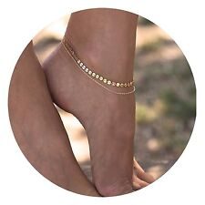 Women 14K Gold Chain Anklet Bracelet Beach Jewelry Sandal Ankle Gold Tone Boho