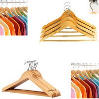 20 Wooden Hanger Organiser Suit Coat Dress Trouser Bar Clothes Hook Hang Garment