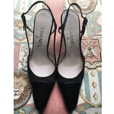 41b7cbe85d4 Vintage CHANEL Black Cap Toe Slingback Heels