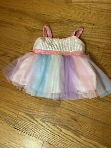 Build A Bear party dress White Sequins Rainbow Tulle Dress Pink Purple Blue Tutu