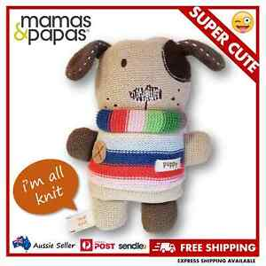 Mamas & Papas Knit Puppy Dog w/ Bell - My First Soft Toy for Baby & Toddler RARE