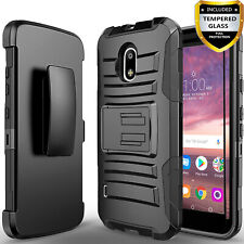 For Nokia 3.1C / 3.1A Phone Case, Armor Belt Clip Cover+Glass Screen Protector