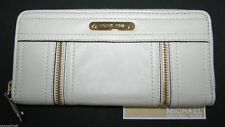 NEW-MICHAEL KORS MOXLEY VANILLA,OFF WHITE LEATHER+GOLD ZIP AROUND CLUTCH WALLET