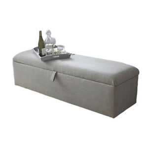Large Ottoman Storage Box Plain Lift Up Footstool Pouffe Bench Bedroom Seat UK