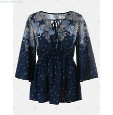 Women Casual Vintage Print Empire Waist Flare Sleeve Blouse NEW Large