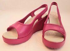 Crocs Pink Slingback Wedge Sandal Womens Shoes Size 8W