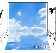 Blue Sky Cloud Reflection in the Water Backdrop 5x7ft Vinyl Photo Background LB