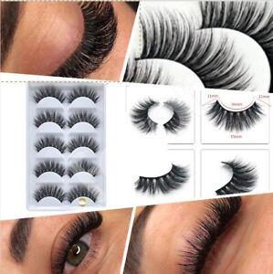 5xPairs 3D Fake Eyelashes Long Thick Natural False Eye Lashes Set Mink Make 801