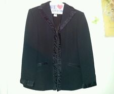 PAOLA ANTONINI black blazer front hooks padded shoulders size 8-10 USA, md Italy