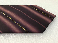 Maroon tie Mens striped tie Pure silk Gold details KAI LONG New