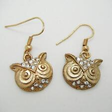Pair of Retro Vintage Gold Diamant Owl Head Pendant Dangle Earrings Gold Platted