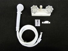 "4"" Shower Faucet & Shower Wand RV Marine White w/clear Handles Free Shipping!"