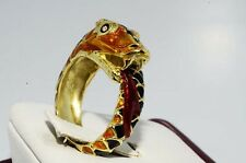 $3,200 .02CT NATURAL DIAMOND & BLACK, ORANGE, RED ENAMEL SNAKE RING 18K GOLD
