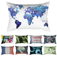 Vintage Flower Tree World Map Pillow Case Sofa Decor Throw Cushion Cover HEA