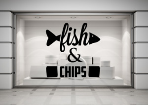 Fish and Chips, Shop Cafe Restaurant sign Wall Window decal sticker art.