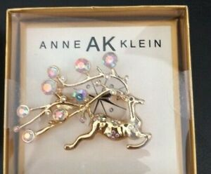 New Anne Klein Reindeer Iridescent Stone X-mas Wreath Brooche  Pin Holiday Gift