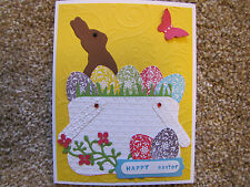 Elegant Easter Basket with Chocolate Bunny Happy Easter Handmade Card Kit Lot 4