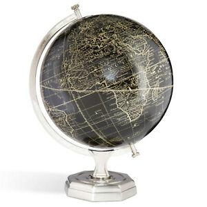 "Black Vaugondy French 1745 World Globe Pewter Finished Stand 17"" Tabletop Decor"