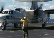 E-2C Hawkeye prepares to launch from deck of USS Theodore Roosevelt Photo Print