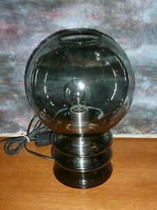 Rare 1960's Peill and Putzler Smoke Glass Table  Lamp