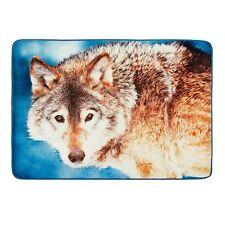 "Wolf Oversized Wildlife Throw Fur Blanket 50"" x 70"" Cabin Lodge Woodland"