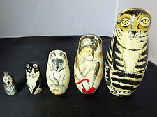 Authentic Models Cat Nesting Dolls Set of 5 with Original Bag Kitty