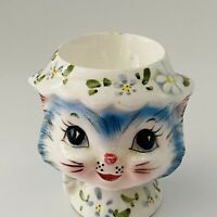 "VINTAGE LEFTON ""MISS PRISS"" BLUE KITTY RARE EGG CUP/HOLDER  #8174  2.5"" TALL HTF"