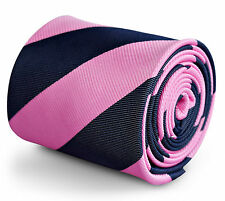 Frederick Thomas navy and pink barber striped tie Ft3259