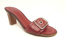 COACH Size 6 NATALIE Red Leather Slide Sandals Heels Shoes