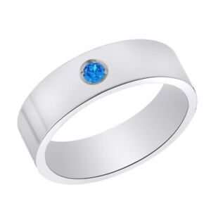 Titanium Blue Topaz Birthstone Comfort Fit 6mm Wide Engagement Band Size 6 to 9