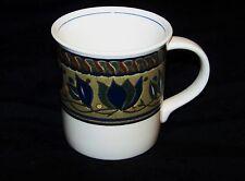 "MIKASA INTAGLIO ""Arabella"" Coffee Tea Mug Tuscan Style Blue Olive Green Cream"