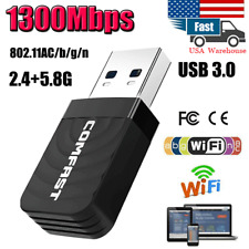 1300Mbps 2.4 / 5GHz Wireless Network USB WiFi Adapter Dongle PC Laptop Desktop