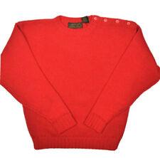 Vintage Eddie Bauer Wool Sweater Mens M Red Crewneck Pullover Shoulder Buttons