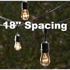 10 Bulbs Vintage Patio String Lights Edison Bulbs 18'' spacing - 20' Long