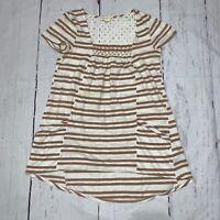 Anthropologie Meadow Rue white khaki striped tee tunic top shirt W pockets Sz S