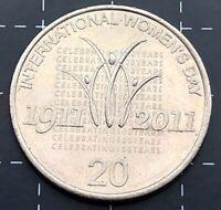 2011 AUSTRALIAN 20 CENT COIN - INTERNATIONAL WOMEN'S DAY CELEBRATING 100 YEARS