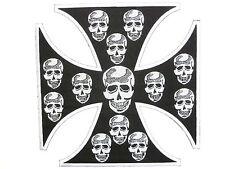 "Maltese Iron Skull Cross Mc Rider Biker 1%er Big XL Embroidered Back Patch 8.5"""