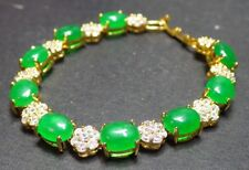 Gold Plate ICY Green JADE Cabochon Bangle Bracelet Diamond (Imitation) 310394
