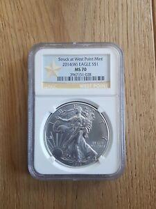 2014 Silver Bullion 1oz  American Eagle Coin. Encapsulated MS 70. Mint Condition