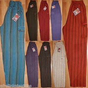 Grandad Cargo Hippy Gringo Lounge Colorful Stripy Trousers Indian pajamas S-3XL