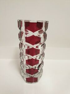 French Vintage Vase. Mid Century. Clear & Cranberry  Colour Glass. Free Postage