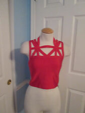 bebe cut out bandage top new small red                     #273