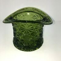 Fenton Green Glass Daisy and Button Large Top Hat Toothpick Holder Vase Vintage
