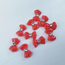 HOT!!! Red 3D Nail Art Bows with Diamonte (10 Pack), NEW! UK SELLER! FREE P&P!!!