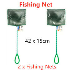 2 x Nylon Fishing Net 42x15CM Metal Handle Scoop Mesh Fish Catching Trap Pet