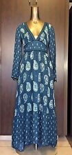 NEW Women Ecote Urban Outfiters Blue Floral Boho Summer Maxi Dress Sz 0 XS $119