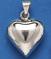 Puffed Heart Sterling Silver Pendant - .925 Pure Silver
